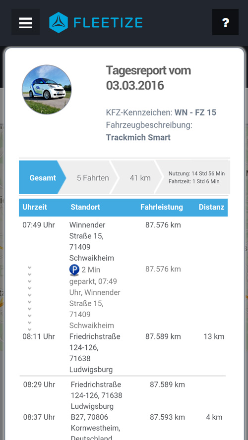 Fleetize-Dashboard - Route-Details