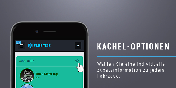 Die Fleetize-Kachel-Optionen
